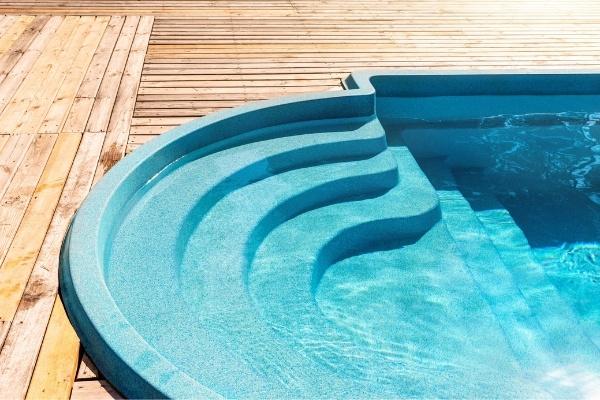 Blue Fiberglass In-ground Pool