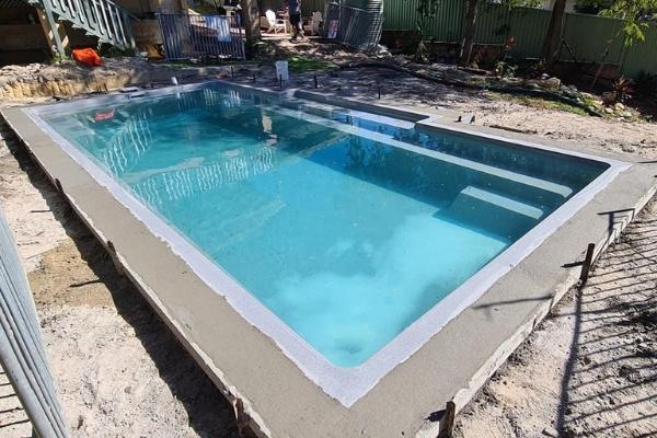 Freshly Poured Pool Bond Beam