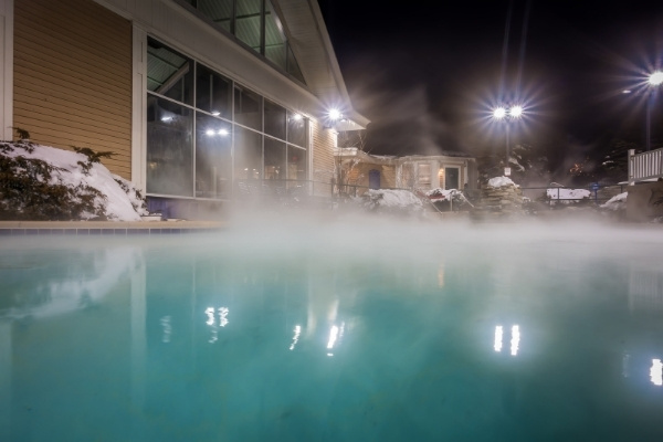 Heated Pool Steaming at Night